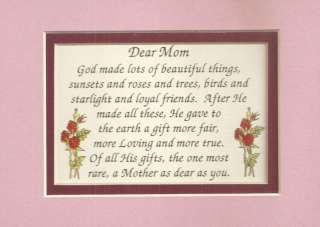 God Made MOTHERs Moms SPECIAL GIFT verses poems plaques