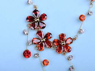 Fire Orange Red Petite Petal Flower Swarovski Crystal Necklace Earring