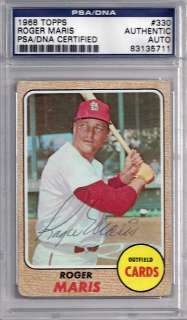 Roger Maris Autographed Signed 1968 Topps Card PSA/DNA #83135711