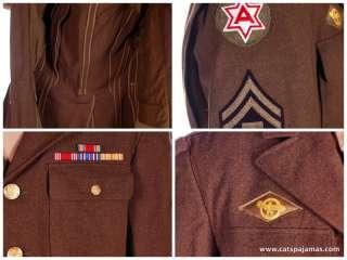 Mens WW2 Army Police/Medic Uniforms Shirt,Hat,Mess Kit Bag,Bars