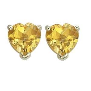 14K Yellow Gold Heart Shape Yellow Citrine Prong Set Studs Jewelry