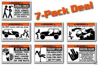 Pack Funny Jeep Warning Stickers Wrangler Sport 4x4