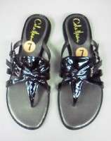 NEW Cole HAAN Black Patent Leather Belted Flat SANDALS $148 Feminine