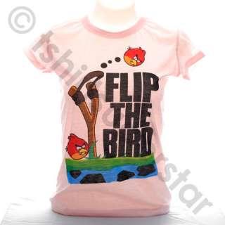ANGRY BIRDS Flip The Bird   Girls Ladies Shirt Tshirt