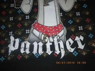 Mens Pink Panther gangster sweat shirt bling Hip Hop Hood size XL
