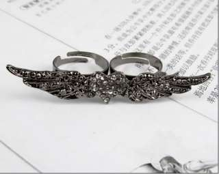 Chic Old Silver Wing Inlay Rhinestone Heart Two Finger Adjustable Ring