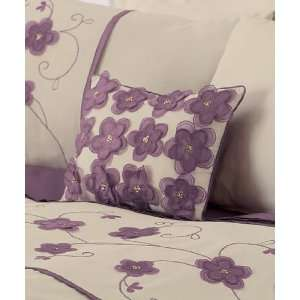 PURPLE HEATHER CREAM EMBROIDERED APPLIQUED FILLED CUSHION SHAM PILLOW