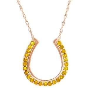 0.50 Ct Round Yellow Citrine 18k Rose Gold Pendant Jewelry