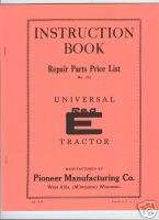 Universal Red E Garden Tractor Instruction Manual & Parts List 1938