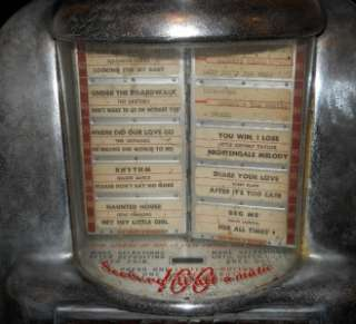 SEEBURG WALL O MATIC 3W 1 JUKEBOX WALLBOX, w/ORIGINAL PROGRAM LEAVES
