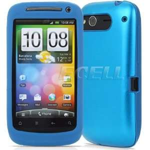 Ecell   SKY BLUE ALUMINIUM SHELL SILICONE CASE FOR HTC