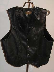 VINTAGE HARLEY DAVIDSON BLACK LEATHER WOMENS VEST MADE IN USA XL