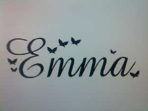 Wall Art, Name with Butterflies Vinyl Sticker, Decal