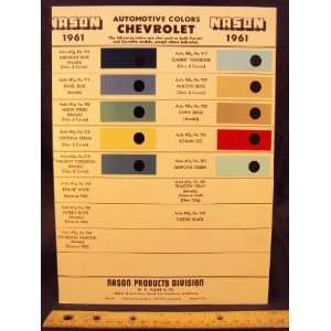 1961 CHEVROLET Paint Colors Chip Page General Motor
