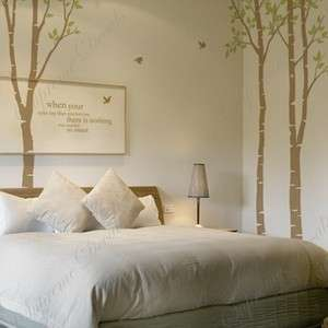 Birch tree forest and birds removable vinyl wall decals