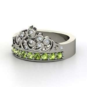Tiara Ring, 14K White Gold Ring with Green Tourmaline & Diamond