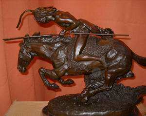 Signed Cheyenne Remington Bronze Statue Horse Southwest Native Indian