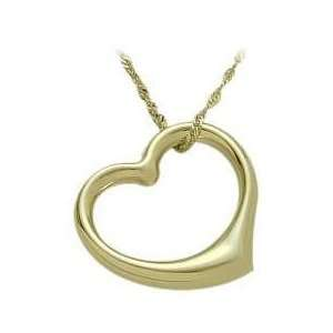 10K Yellow Gold Thick Floating Heart Pendant with chain Jewelry