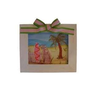 Punkin Patch Girl Pink Island Surf Beach Kids Art Framed