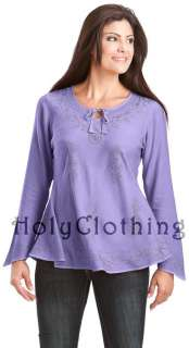 Empire Waist Gypsy Embroidered Boho Top Shirt Blouse
