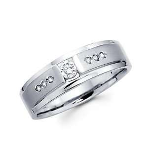 Size  12.5   1/4ct Diamond 14k White Gold Mens Wedding Solitaire Ring