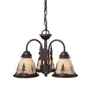 NEW 3 Light Rustic Tree Chandelier Fixture OR Ceiling Fan Lighting Kit