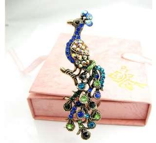 Unique peacock Brooch Pin Swarovski Crystals Gift #217