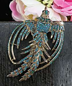 Stunning Phoenix Peacock Turquoise Blue Swarovski Crystals Gold Brooch