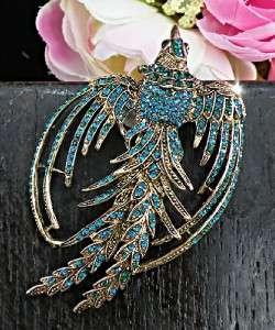 Stunning Phoenix Peacock Turquoise Blue Swarovski Crystals Gold Brooch