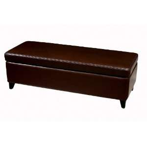 Wholesale Interiors Dark Brown Full Leather Storage Bench