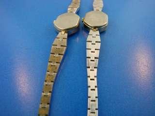 Lot 2 Helbros Wrist Watches Jewelry Ladies Quartz Crystal Gold Silver