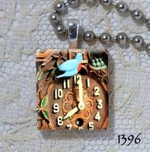 Keebler Blue Bird Miniature Clock   Altered Art Scrabble Charm