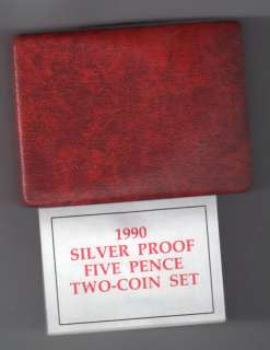 1990 Silver Proof 5 Pence 2 Coin Set United Kingdom