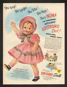 1950 Noma Effanbee Electronic Talking Toy Doll Print Ad