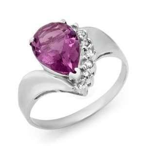 67ct Diamond & Amethyst Ring White Gold (J13)