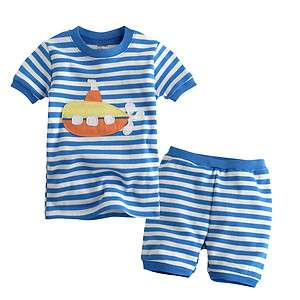 Toddler Kid Girl Boys Short Sleeve Sleepwear Set Blue Marine