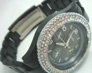 Mens Womens Black Rose Gold Silver Metal Double Row Crystal Geneva