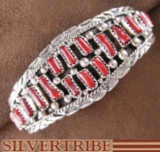 Native American Jewelry Navajo Coral & Silver Bracelet