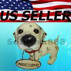 Dalmatian Big Head Puppy Dog Statue with Welcome Sign