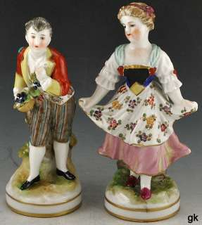 Antique Italian Capodimonte Hand Painted Porcelain Figurines Early