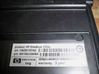 HP Elitebook 2530p Notebook Core 2 Duo NS136UC#ABA for Parts or Repair