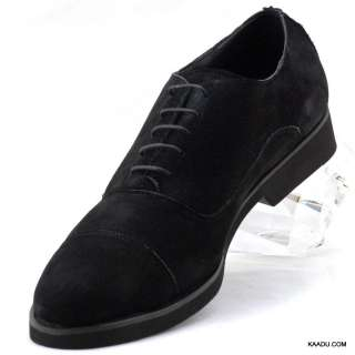 XL0609B Clevis Mens Dress Comfort Shoe Black Suede Leather Oxford