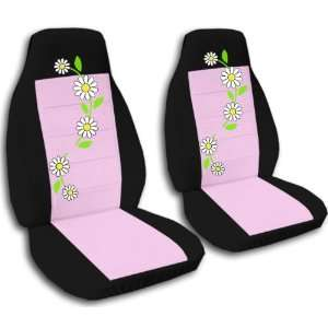 2 black and sweet pink daisy car seat covers for a 2000