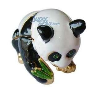 Panda with Green Bamboo   Jewelry Trinket Box Swarovski
