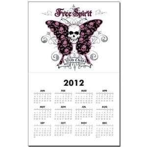 Calendar Print w Current Year Butterfly Skull Free Spirit