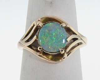 Vintage Estate 8x7mm Natural Opal Yellow Gold Cocktail Ring