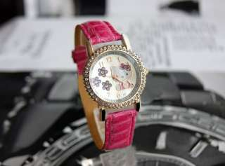 flowers lady girl hello kitty crystal watches students wristwatch