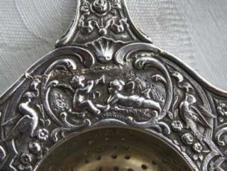 Antique~Elaborate~Solid HEAVY Sterling Silver TEA STRAINER Repousse
