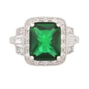 JanKuo Jewelry Silver Tone Emerald Cubic Zirconia Ring May