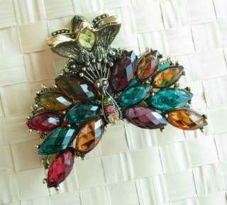 COLORS SWAROVSKI CRYSTAL BIG BRONZE PEACOCK HAIR CLAW CLIP 805